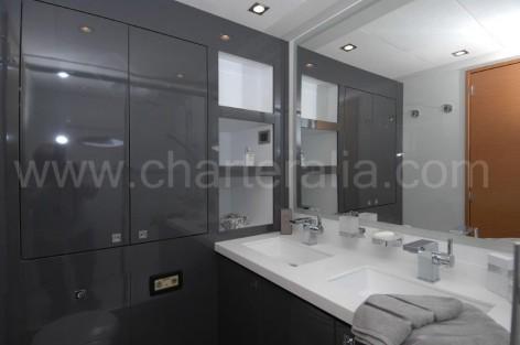Victoria 67 luxurious catamaran for rent in Ibiza bathroom view