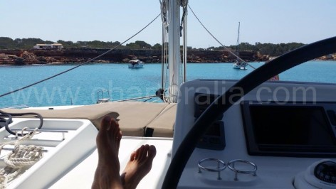 View from the fly bridge of the catamaran