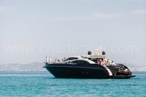 Yacht in the blue water of Ibiza