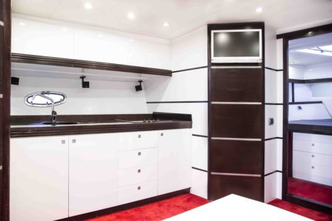 Kitchen in the interior of the Stealth 50 luxury yacht