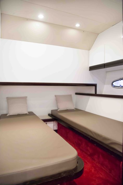 Stealth 50 luxury yacht twin bed cabin