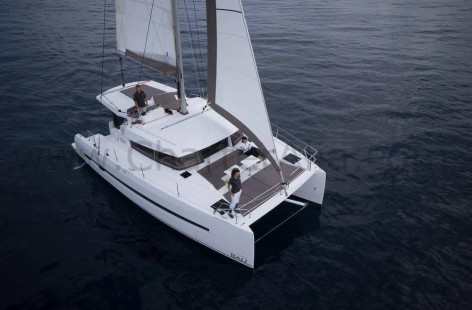 Aerial view of Bali 43 Catana rent boat in Balearic Islands