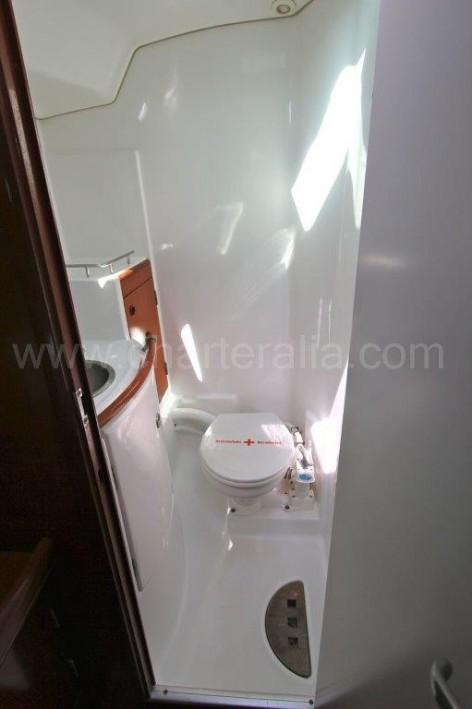 Bathroom of sailboat Beneteau 50 in Ibiza
