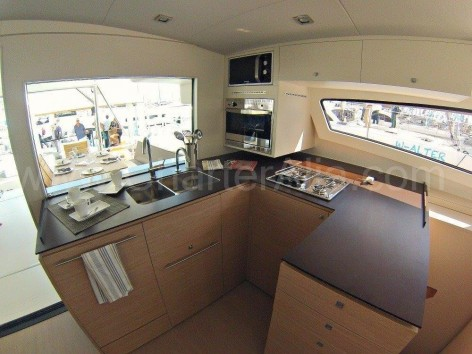 Kitchen aboard Bali 43 yacht for rent in Formentera and Ibiza