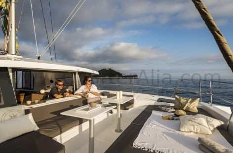 Large window of sun deck on Bali 43 boat hires in Ibiza