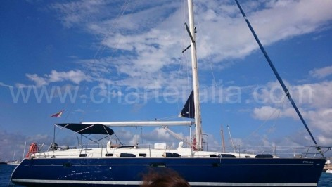 Side view of boat for hire in the Balearic Islands Beneteau 50