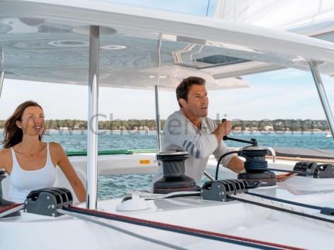 Helm aboard Lagoon 450 SporTop yacht charter in Ibiza
