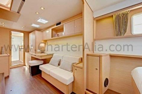 Luxurious cabin of Lagoon SporTop 450 chartering yacht in Ibiza