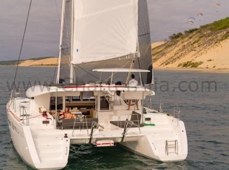 Stern platform of Lagoon catamaran for hire in Ibiza