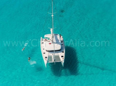 Aerial view of Lagoon 39 yacht for hire in Ibiza