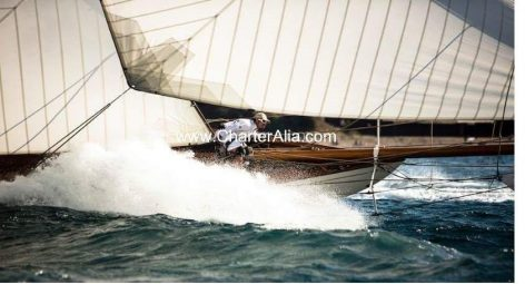 Arias competing with sailboat rent boat in Balearic Islands