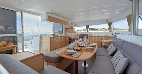 Central platform of 390 Lagoon boat available for rent in Ibiza