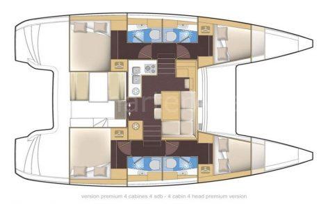 Floor plans of Lagoon 39 boat for rent in Eivissa