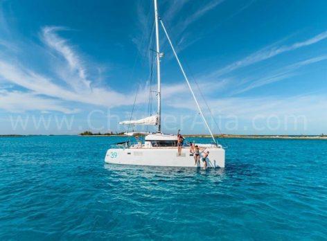 Jumping from catamaran charter in Ibiza Lagoon 39