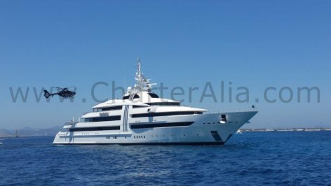 Megayacht with helicopter anchored at Illetas beach in Formentera