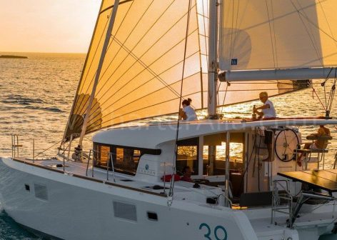 Sunset on board yacht rental in Ibiza and Formentera Lagoon 39