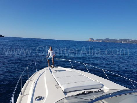 Bow of Sunseeker yacht rental in Ibiza
