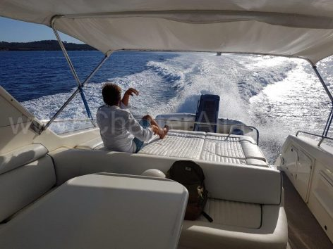 Yacht full speed in the Balearic Islands
