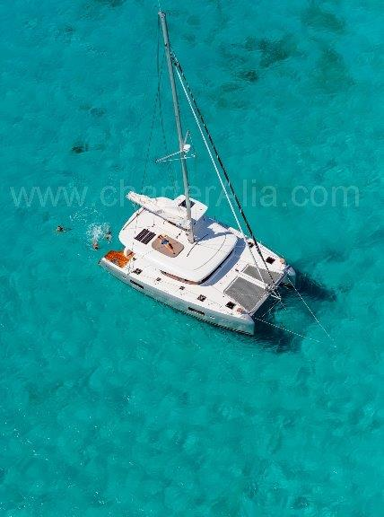 Aerial view of the 42 Lagoon yacht for hire in Ibiza