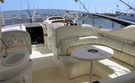 Aft seating on Endurance Cranchi 39 power boat for charter in Ibiza