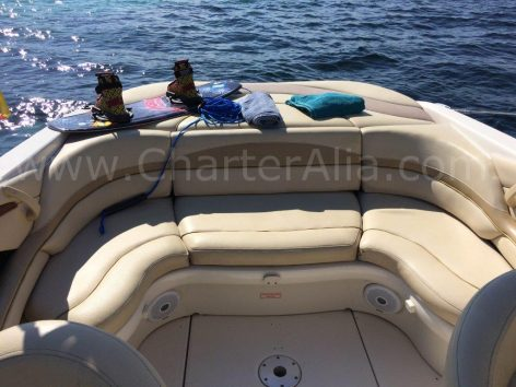 Aft seating on Sea Ray 230 speed boat for charter in Ibiza