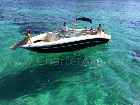Drone view of speed boat Sea Ray 230 for hire in Formentera and Ibiza