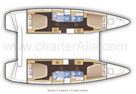 Floor plans of Lagoon 42 boat for rent in Eivissa