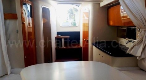 Galley on board the 39 Endurance power yacht available for rent in the Balearic Islands