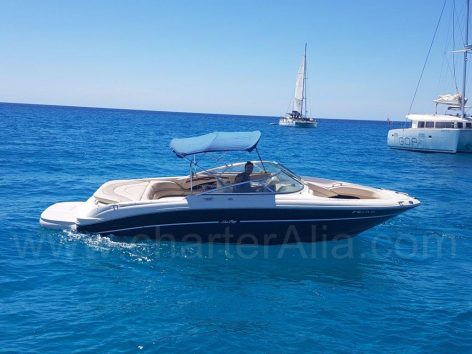 Hard top bimini of Sea Ray 230 skippered speed boat hire in Ibiza