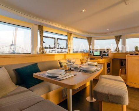 Salon on board yacht rental in Ibiza and Formentera Lagoon 42