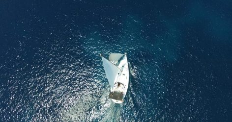 Drone photo of sailing boat in Formentera