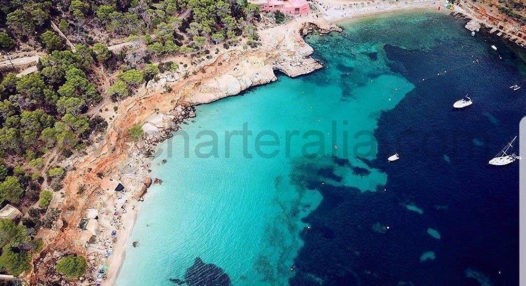 Cala Salada and Cala Saladeta - CharterAlia boat hire Ibiza