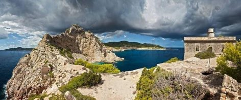 Panoramic picture of Clot des Llamp during the winter in Ibiza