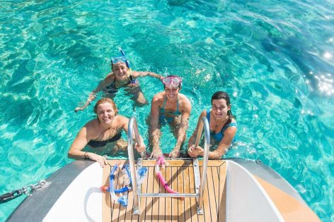 Swimming and snorkeling on board our boat hire in Mallorca
