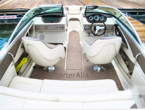 Exterior area of Sea Ray 210 motor boat rental in Ibiza and Formentera