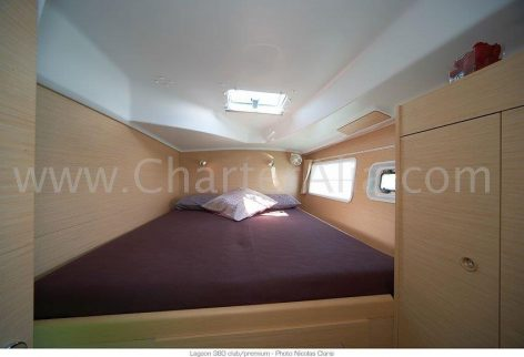 Aft cabin on board Lagoon 380 2018 catamaran for hire with skipper in Ibiza and Formentera