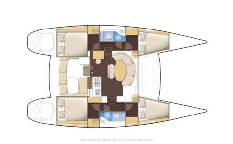 Floor plans of the Lagoon 380 2018 catamaran for hire in the Balearic Islands