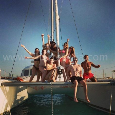 Frontal shot of the catamaran for hiring in the Balearic Islands