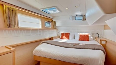 Inside double cabin of the Lagoon 40 charter catamaran in Ibiza