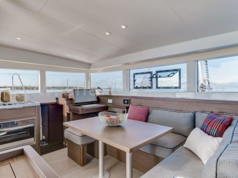 Interior of catamaran Lagoon 40 in Ibiza and Formentera