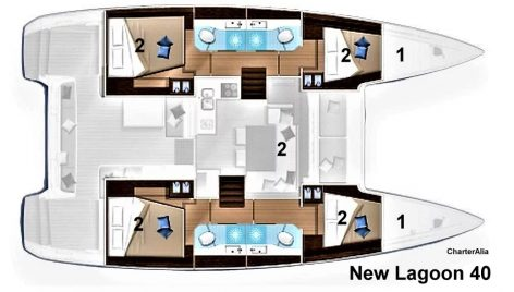 Lagoon 40 floor plan and distribution