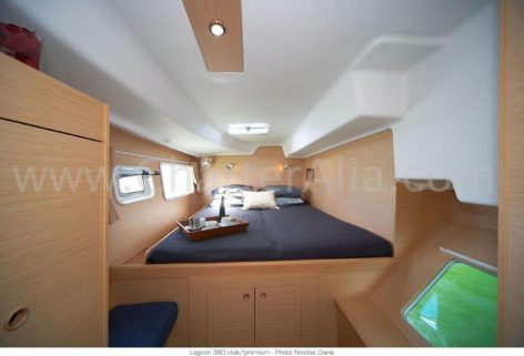 One of the two cabins aft of the catamaran Lagoon 380 new of 2019