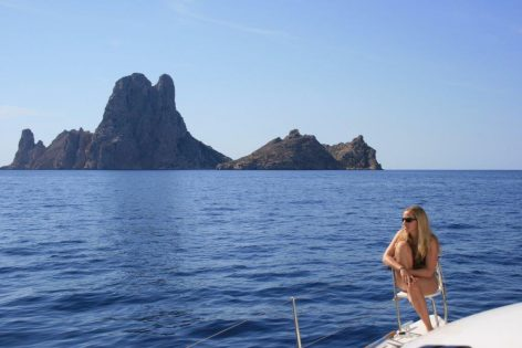 Passing Es Vedra on board the Lagoon 380 catamaran for rent in Ibiza and Formentera