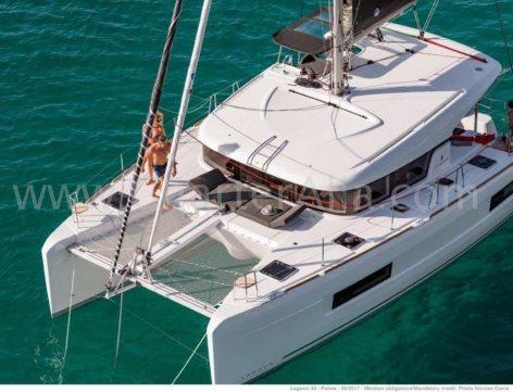 Photo with drone of charter catamaran Ibiza Lagoon 40