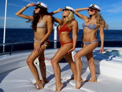 Posing on board our rental boat in Ibiza and Fomentera