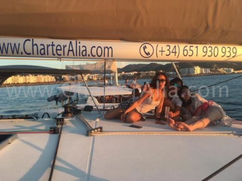 Sunset watching on board catamaran in Ibiza for hen party