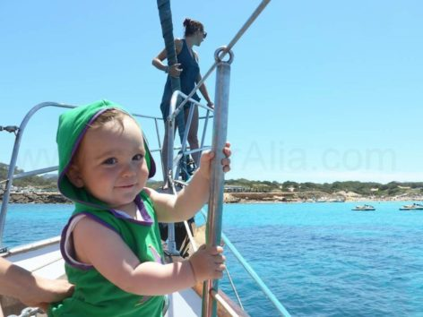 Babies aboard our rental boats in Ibiza and Formentera