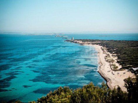 Stunning views of Es Cavallet beach in Ibizas salt mines
