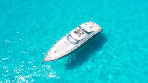 Aereal view of the yacht Princess V65 sailing in Formentera