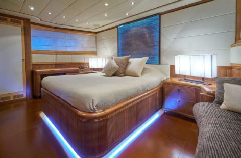 Another super luxury stateroom in the yacht for rent in Ibiza Mangusta 130